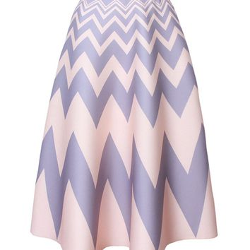 Streetstyle  Casual Zigzag Striped Flared Maxi Skirt