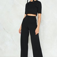 Crop & Wide Leg Pant Co-Ord