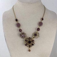 Floral Necklace, Purple Rhinestones, Flowers, Statement, Gold tone Assemblage, Reclaimed Vintage Jewelry, OOAK