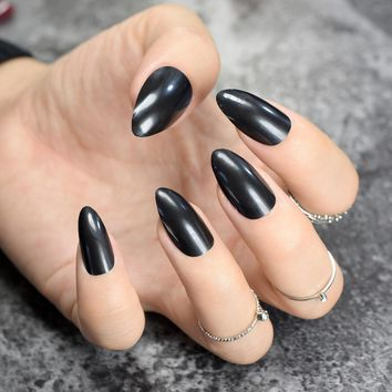 Pure Black Stiletto False Nails Solid Black Oval Sharp end Fake Nails Tips Pointed Head Full Artificial Nails for Lady Daily