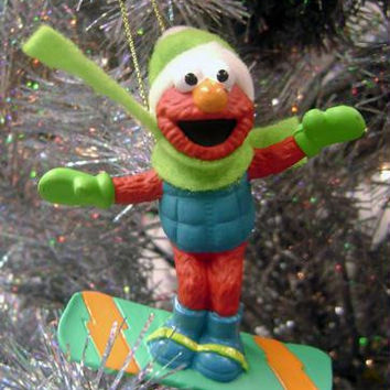Christmas Ornament - Sesame Street Elmo On Snowboard