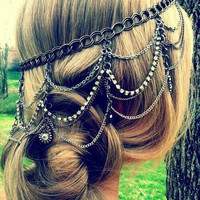 Silver layered headchain. Silver head chain, Hairchain, Headpiece, back of head chain