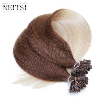 Neitsi Brazilian Straight Pre Bonded Nail U Tip Keratin Hair Extensions T6/60# Ombre Colored 20inch 1g/s 50g 100g Fast Shipping