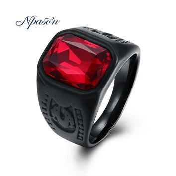 NPASON New Arrival Men Rings luxurious Black Gun Plated Red Glass Stainless Steel Signet Punk Rock HipHop Male Jewelry Gifts