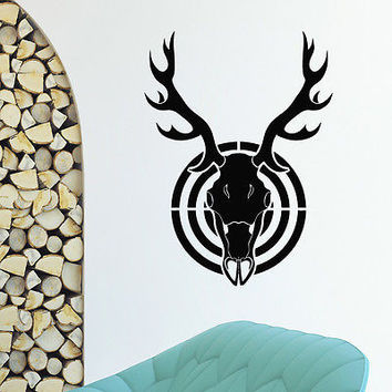 WALL DECAL VINYL STICKER GUN RIFLE ANIMAL DEER SKULL HUNT HUNTING DECOR SB619