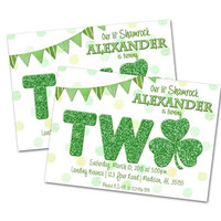St Patricks Day 2nd Birthday Invitation - Irish 2nd Birthday Invitations - Shamrock 2nd Birthday - Shamrock Invites - Boy Girl - Lucky Charm