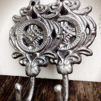 Set Of Two Medallion Wall Hooks - Shimmering Metallic Silver Chrome - Rustic Floral