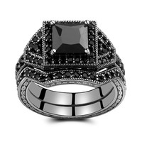 Caperci 2.0ct Black CZ Diamond Wedding Engagement Ring Bridal Set Princess Cut Black 925 Sterling Silver