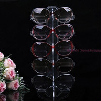 Portable Clear Acrylic 5 pairs Sunglasses Display Holder Rack Glasses Stand Frame Foldable