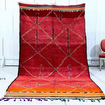 "Moroccan red wool rug 5'3""x9'7"""