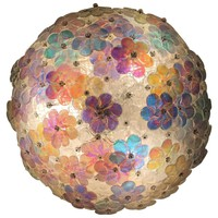 Lovely Murano Glass Floral Flush Mount Ceiling Multi-Color, 1980s