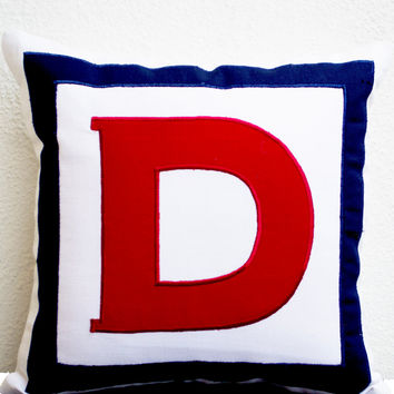 Personalized White, Red, Navy Blue Monogram Pillow- Big letter pillow- Alphabet throw pillow- Customized Red letter cushion- pillow- 24x24