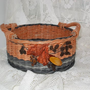 Hand made wicker basket from paper