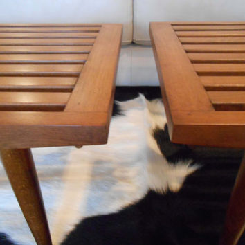 Pair Mid Century Danish Modern Slat Bench Tables Gorgeous Condition