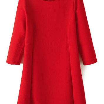 3/4 Sleeve Solid Color A-Line Dress