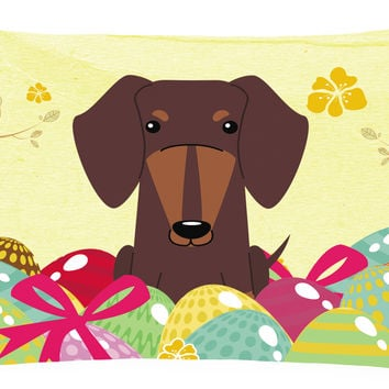 Easter Eggs Dachshund Chocolate Canvas Fabric Decorative Pillow BB6131PW1216