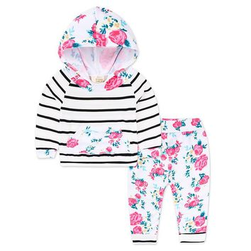 Fashion Autumn Baby Girls Clothing Sets Cotton Long Sleeve Hooded Floral Tops And Striped Pants 2 pcs Newborn Boys Clothes Suits