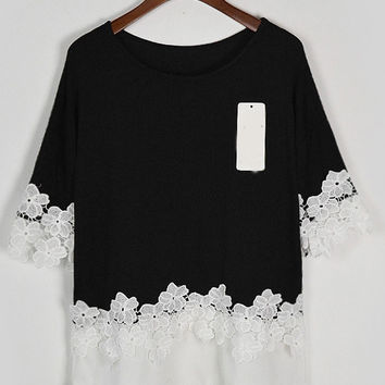 Black Contrast Lace Crochet Short Sleeve T-shirt