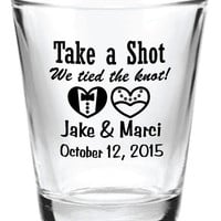 NEW Personalized 1.5oz Wedding Favors Glass Shot Glasses 2015 Custom Bride & Groom Hearts