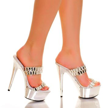 Double Band Strap Sandal-Stripper Shoes