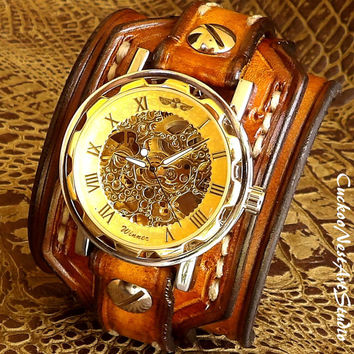 Steampunk Cuff Watch, Leather Wrist Watch, Men's watch, Leather Cuff, Bracelet Watch, Watch Cuff, Mens Gift, Tobacco Brown, Mechanical Watch