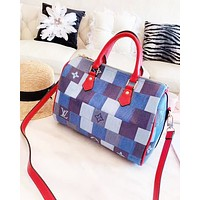 LV fashion casual lady patchwork color duffel bag hot selling checked print shopping bag
