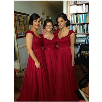 New Fashion 2017 Beach Royal Empire Red Wedding Party Dresses Sheer Back With Applique Lavender Long Bridesmaid Dresses Cheap