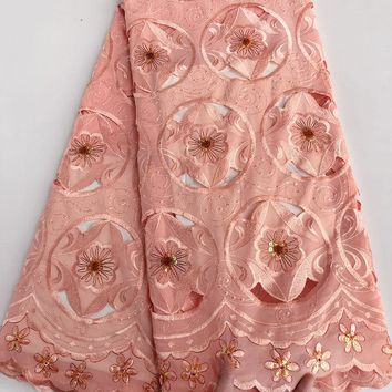 plain color soft Handcut lace voile lace African Swiss fabric with massive handworks crystal beads sequins high quality