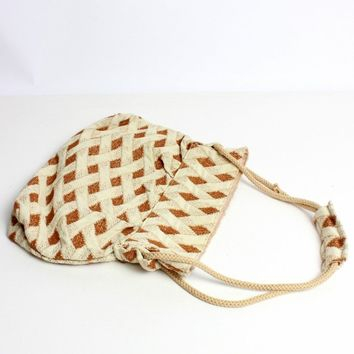 Brown Diamond Weave Purse
