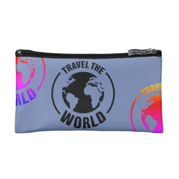 Travel the world cosmetic bag