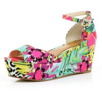 pink floral print wedges - wedges - shoes / boots - women - River Island