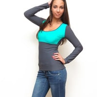 Grey yoga top scoop neck shirt teal green top long shirt