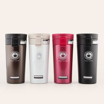 Flip-Top Locking Stainless Steel Insulated Coffee Thermos Water Bottle with BPA Free Spill Proof Lid, 380 ml, 320 ml