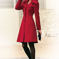Red (RD) Tailored A-Line Coat