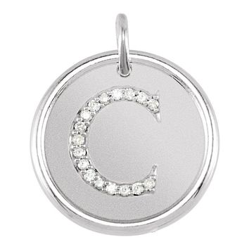 """Sterling Silver .07 CTW Diamond Initial """"A"""" Pendant"""