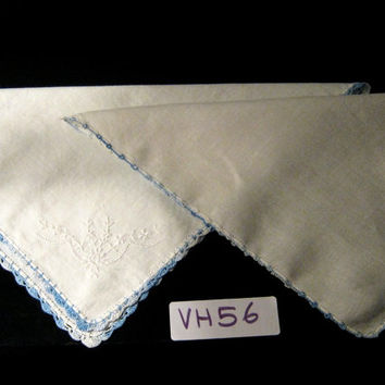 Vintage Hanky Lot of Two White Hankies with Blue Crocheted Trim Pair of Handkerchiefs