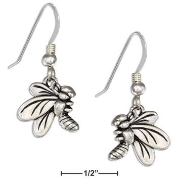 Sterling Silver Side View Bumble Bee Earrings On French Wires