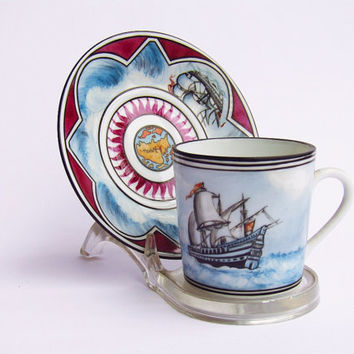 Sailing ship over stormy water porcelain coffee cup, collectible coffee cup, personalized coffee cup, coffee service set, espresso cup