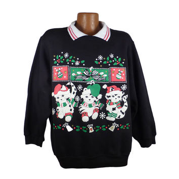 Ugly Christmas Sweater Vintage Sweatshirt Cats Scene Party Xmas Tacky Holiday 2XL