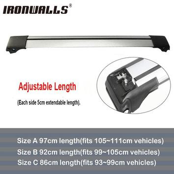 Ironwalls 1x Car Roof Rack Cross Bar 105cm~111cm Top Luggage Cargo With Lock System For Most Vehicles With Raised Side Rails