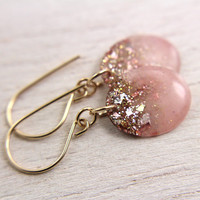 pink earrings with gold glitter and gold leaf on gold earwires - resin drop earrings