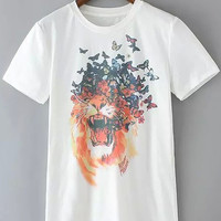 Butterfly Lion Print Short Sleeve Graphic T-shirt