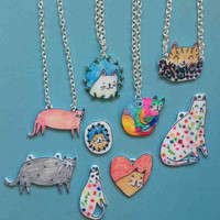 Cat necklace lucky dip bag - Grab bag - lucky bag - cats - I like cats - cat necklace - cat gifts- mystery bag - kitty necklace -cat jewelry