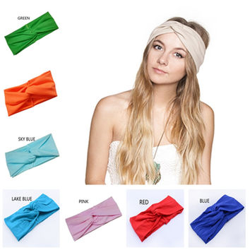 Hair Accessories Twist Elasticity Turban Headbands for Women Sport Head band Yoga Headband Headwear Hairbands Bows Girls LEN01