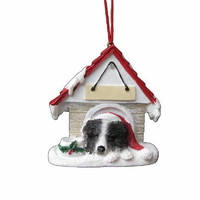 "Border Collie Ornament A Great Gift For Border Collie Owners Hand Painted and Easily Personalized ""Doghouse Ornament"" With Magnetic Back"