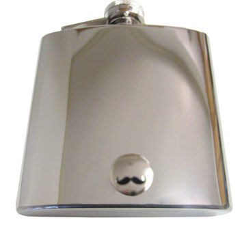 Glossy Circular Mustache 6 oz. Stainless Steel Flask