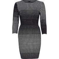 River Island Womens Black graphic print bodycon dress