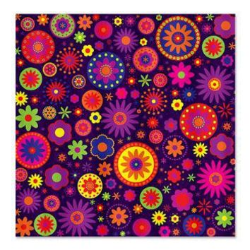 Hippie Purple Rainbow Flowers Shower Curtain> Multi-colored Gifts> Hippy Gift Shop Funky Hippie Gifts