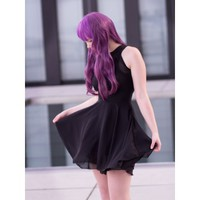 Black Chiffon Skater Dress
