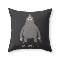 Society6 Sloth Throw Pillow